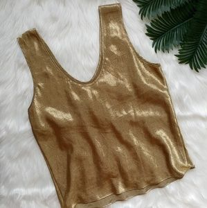 Vintage Gold Luxurious Patterned Sleeveless Top